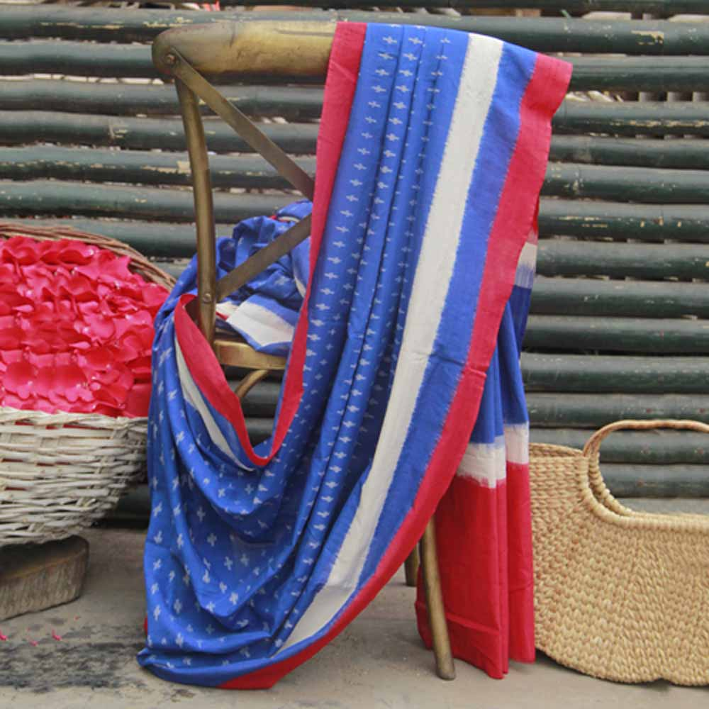 Blue Red saree (Ikat pattern)