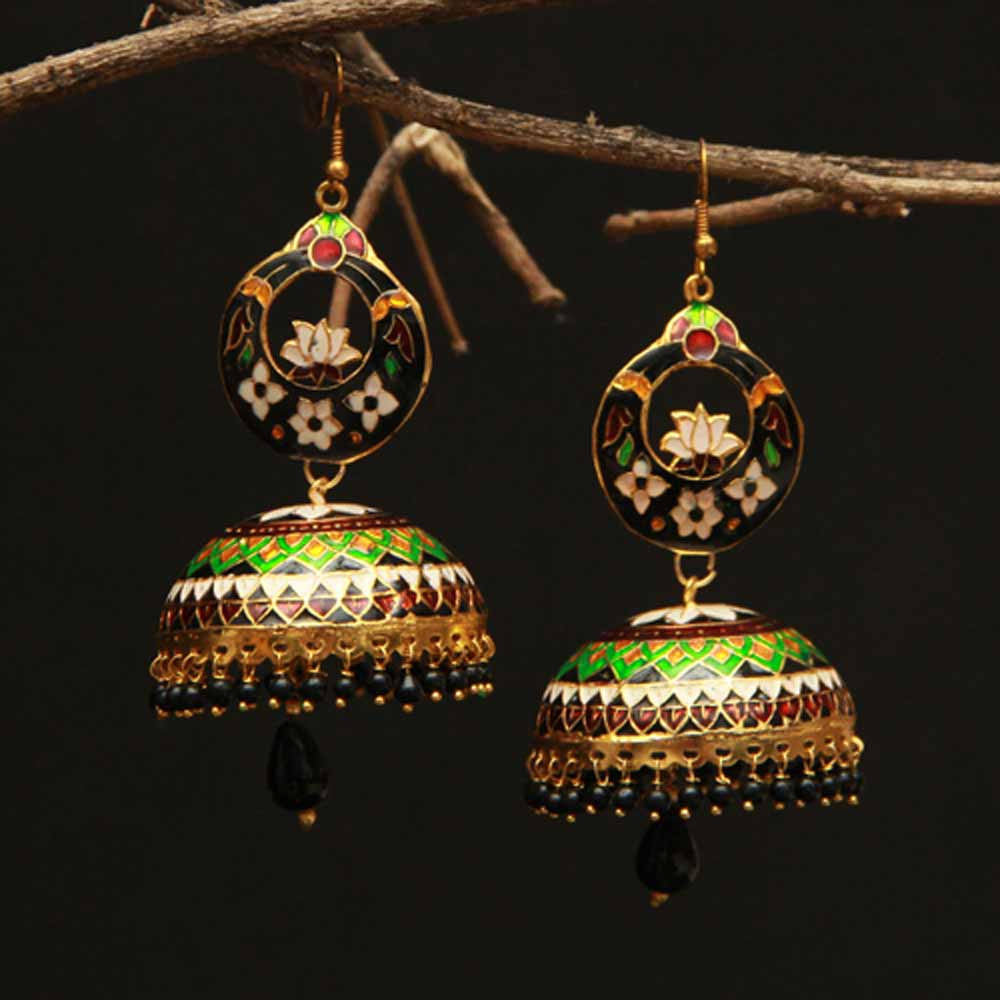 Designer Jhumka (Gold Polished Earrings)