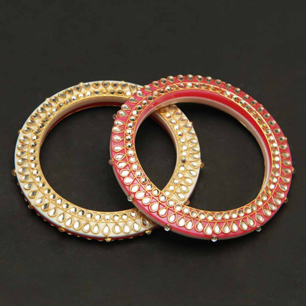Yellow Red Bangles With Kundan Work