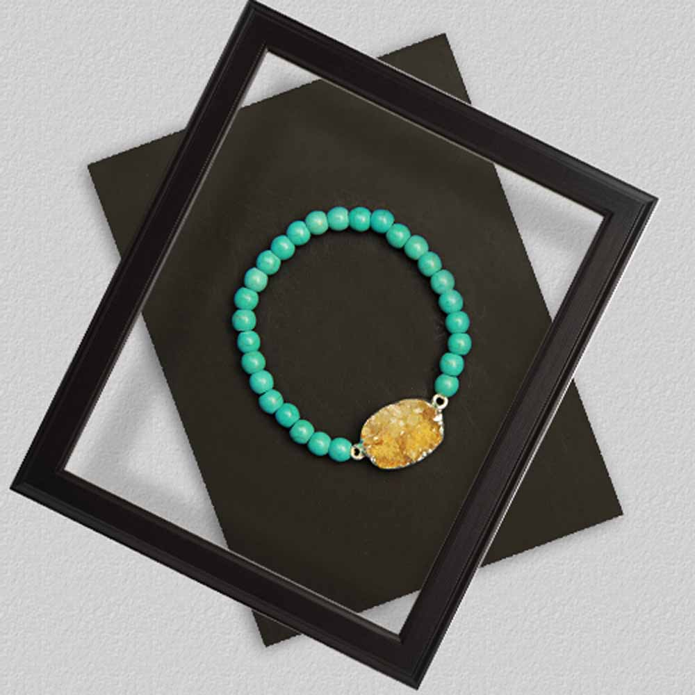 Turquoise Green Bracelet With Yellow Stone