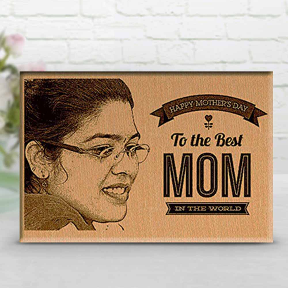 Best Mom Personalized Engraved Photo on Wood