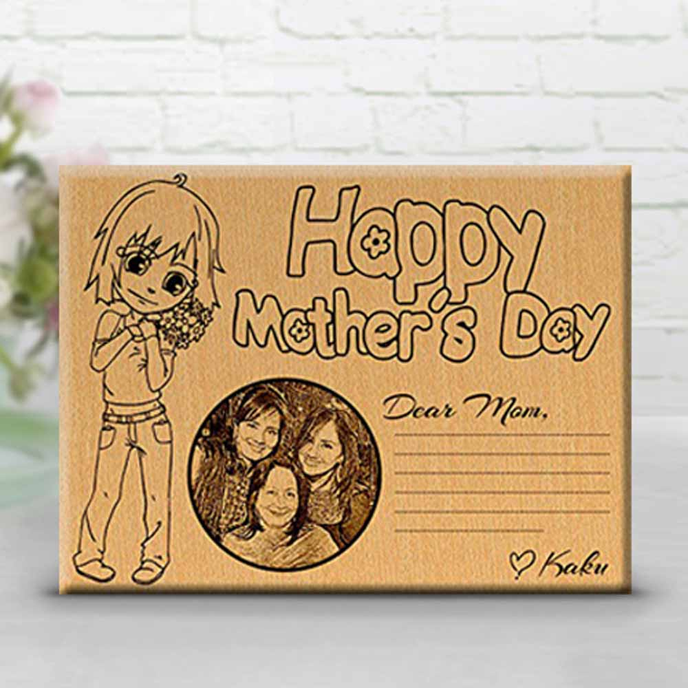 Personlized Engraved Photo on wood for Mom