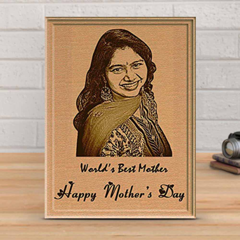 Personalized Plaque with Engraved Photo for Mother