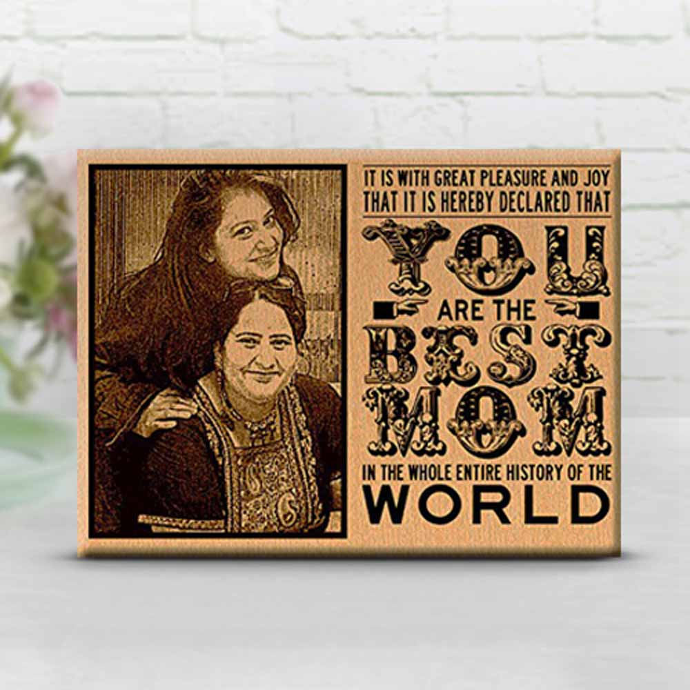 Best Mom Engraved Wooden Photo Plaque