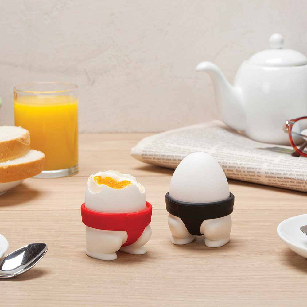 Egg Cups Black and Red (Set of 2)