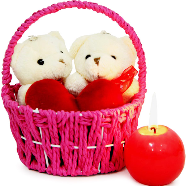 Couple Teddy In Basket