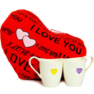 Stuffed Toys Gift Hampers-Love Cushion N Mugs