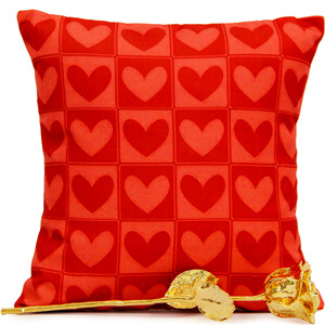 Stuffed Toys Gift Hampers-Golden Rose N Cushion