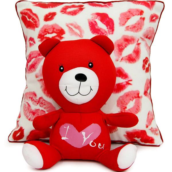 Stuffed Toys Gift Hampers-Kiss Me Cushion N Teddy