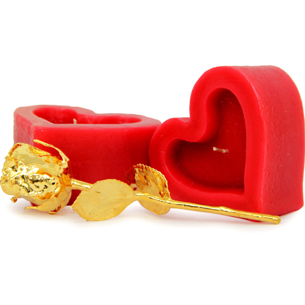 Golden Rose N Heart Candles