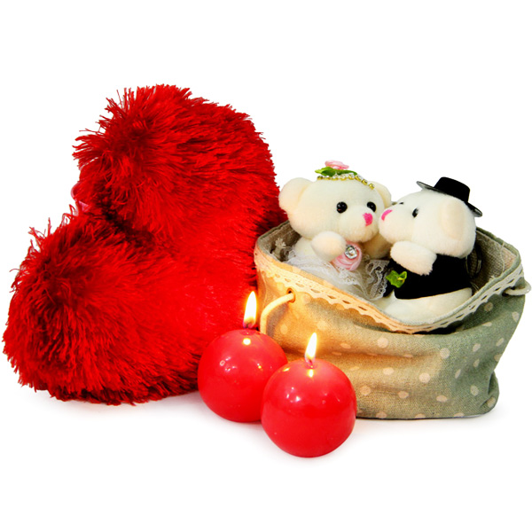 Stuffed Toys Gift Hampers-Heart Cushion N Couple Teddy