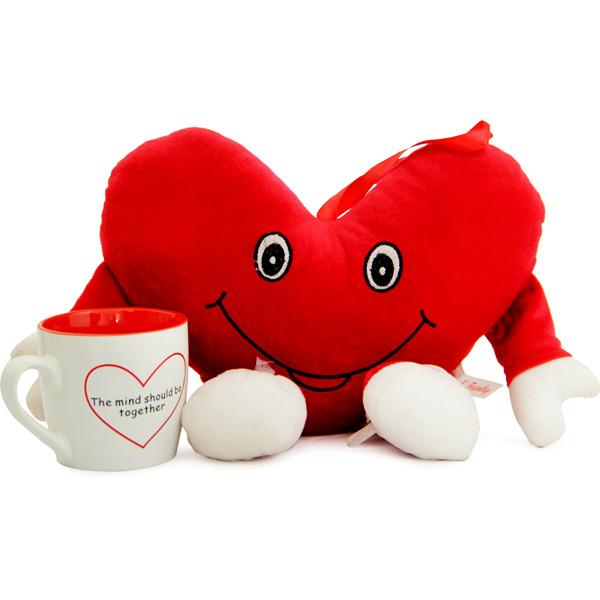 Stuffed Toys Gift Hampers-Heart Cushion N Mug