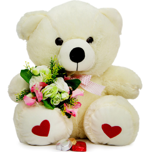 White Teddy N Artificial Flowers