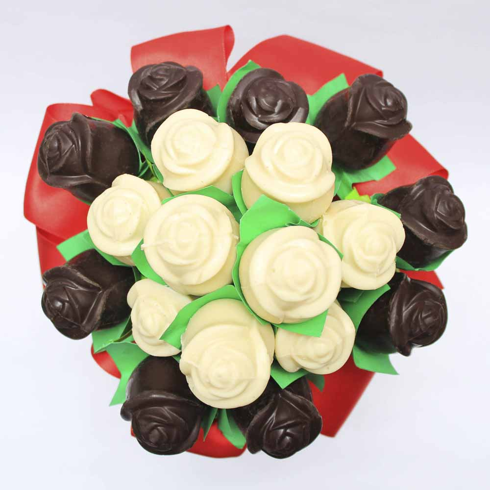 Dark and white chocolate roses