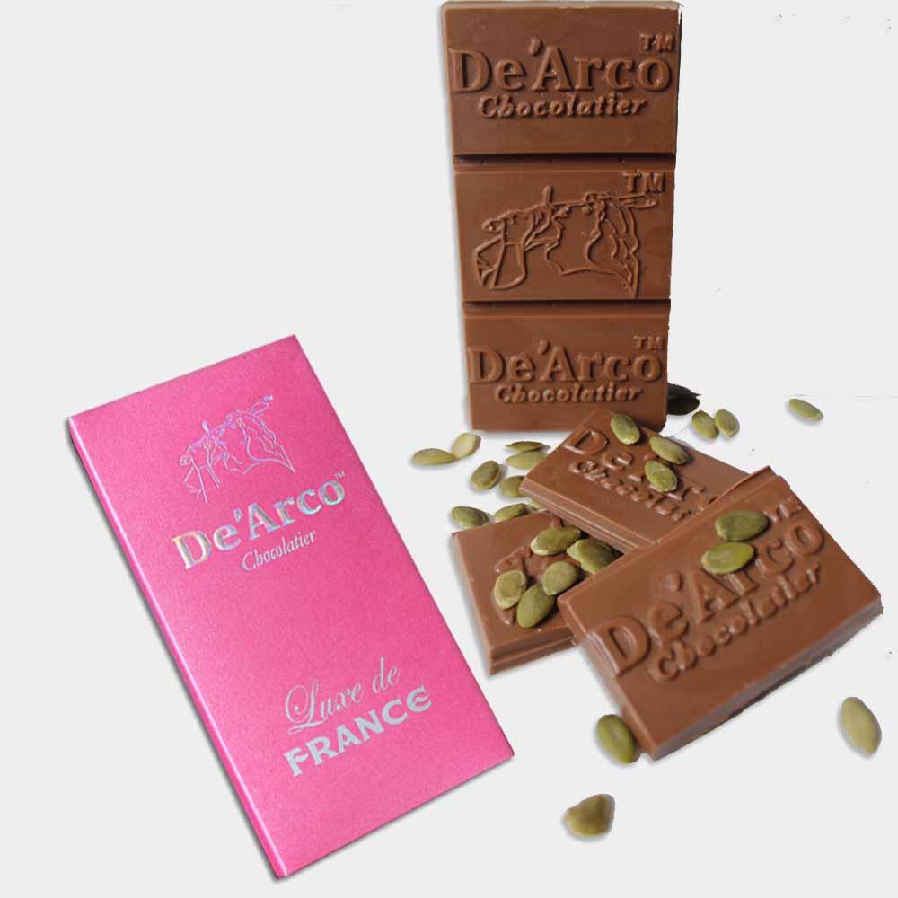 Chocolates & Cookies-De'Arco Chocolatier 50% Cocoa Nutri Pumpkin Seeds 80 g