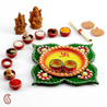 Clover Leaf Design Wood and Clay Work Pooja Thaali