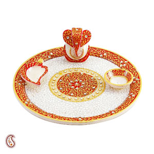 White Marble Arthi Thaali with Kundan Work
