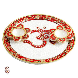 Om Arthi Thaali in Pure White Marble with Kundan Work