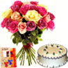 Gift Duo Roses with Vanilla Cake Diwali Hamper on Diwali