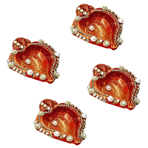 Diwali Diyas-Shank Diyas with Pearls and Kundans Accents - Set of 4
