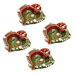 Diwali Diyas-Hand Painted Floor Diyas with Kundans and Pearls - Set of 4