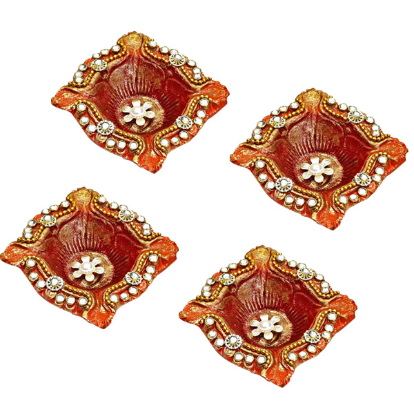 Square Diyas with Kundans, White Stones and Flowers - Set of 4