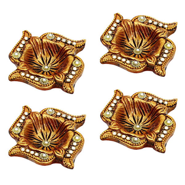 Swastika Diyas with Gold Paint and Studded with Kundans - Set of 4