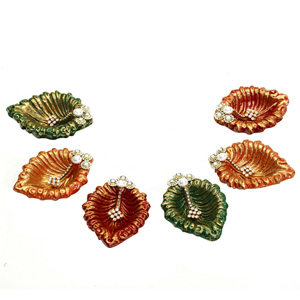 Diwali Diyas-Multicolor Hand Painted and Decorated Diya - Set of 6