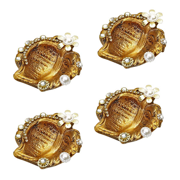 Dull Gold Mango Shaped Diyas with Decorations - Set of 4