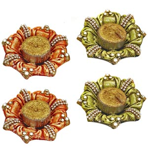 Diwali Candles-Diya Candle Holder Hand Painted and Decorated with Glass Stones - Set of 4