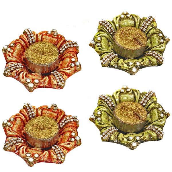Diya Candle Holder Hand Painted and Decorated with Glass Stones - Set of 4