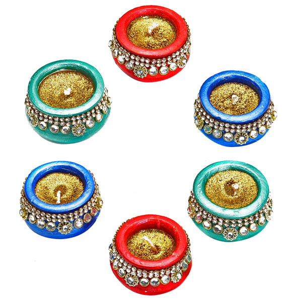 Metallic Painted Pot Candles with Stones and Glitter - Set of 6