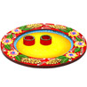 Round Wood and Clay Work Arti Thaali with Hand Painted Motifs