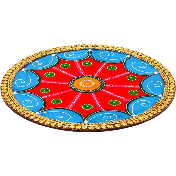 Hand Painted and Clay Work Decorative Plate