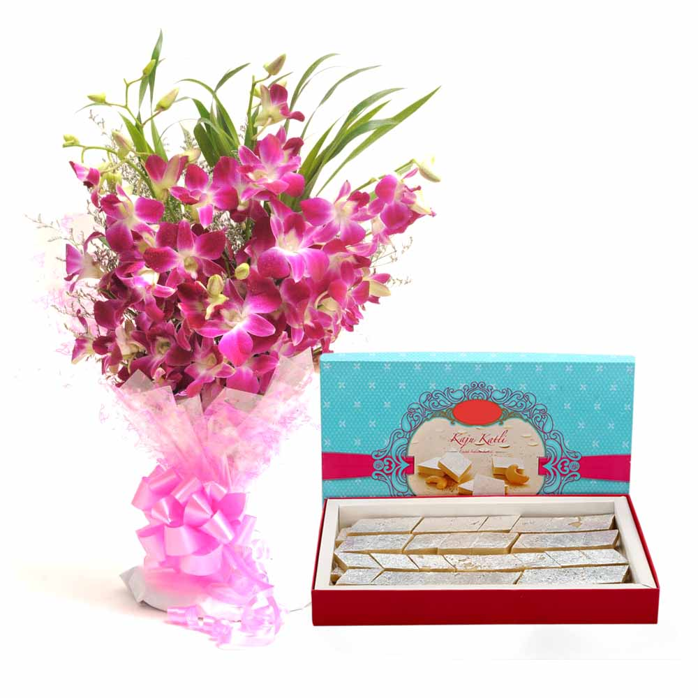 Orchids and Katli for Diwali
