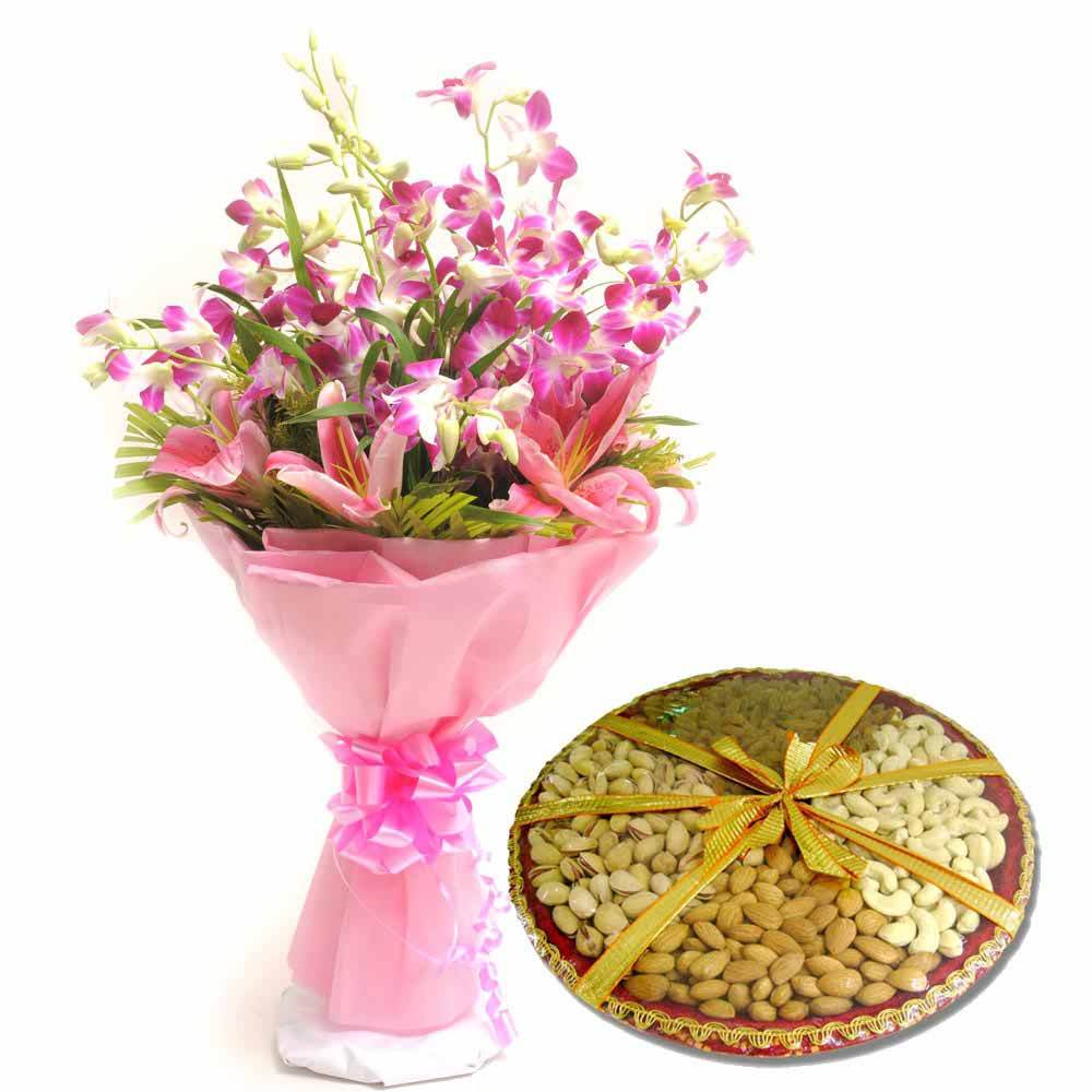 Orchids and Dryfruits for Diwali