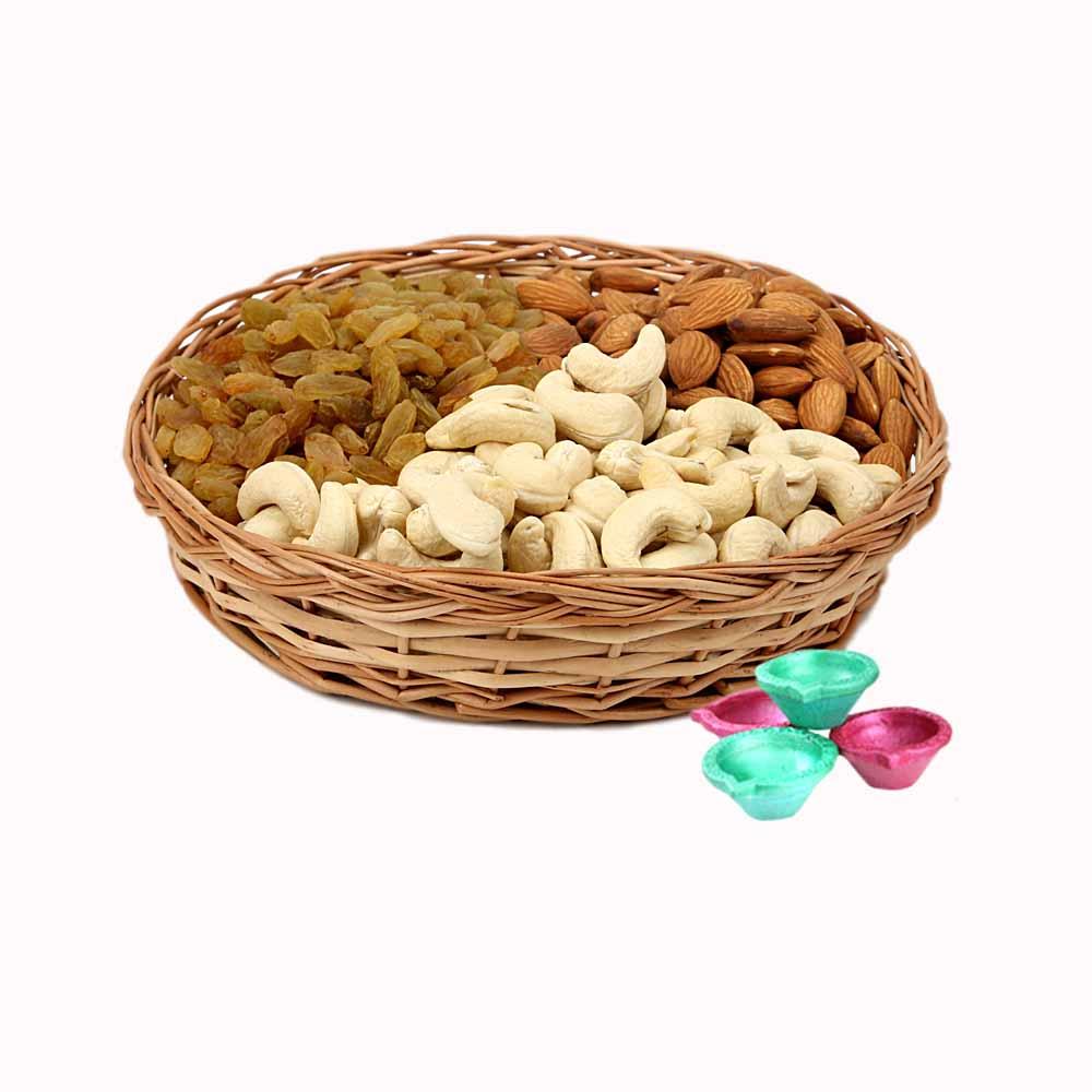 Mix Dry Fruits Basket and Diya