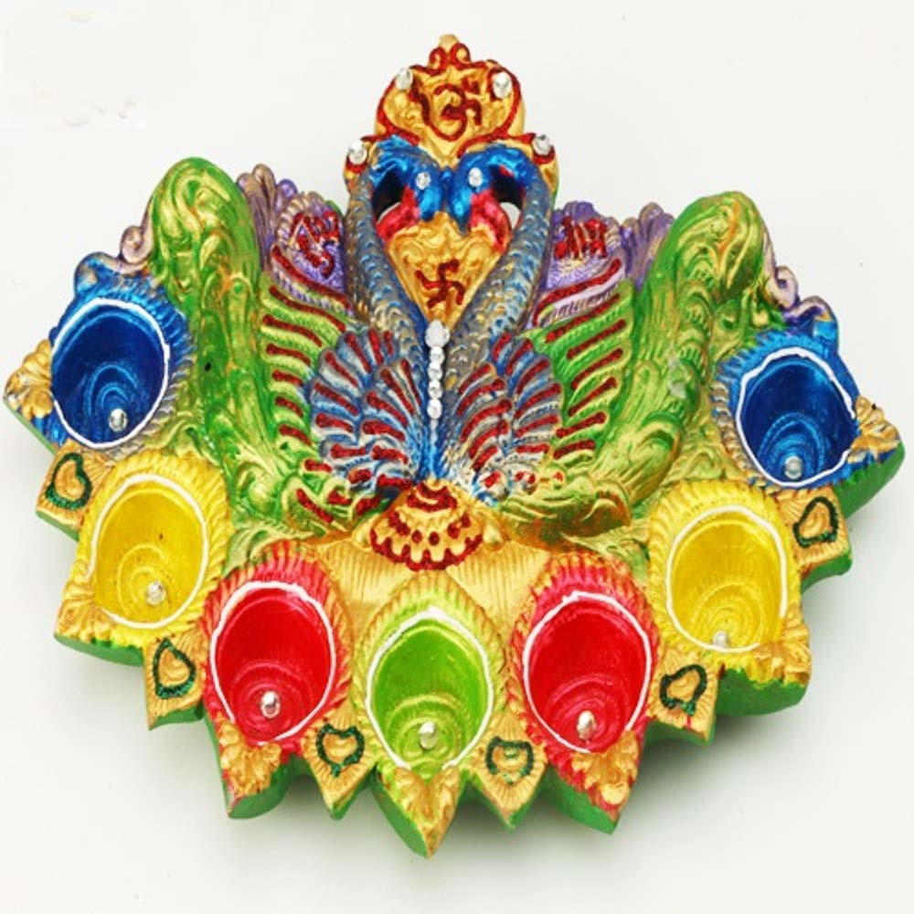 Double Peacock Diya Tray