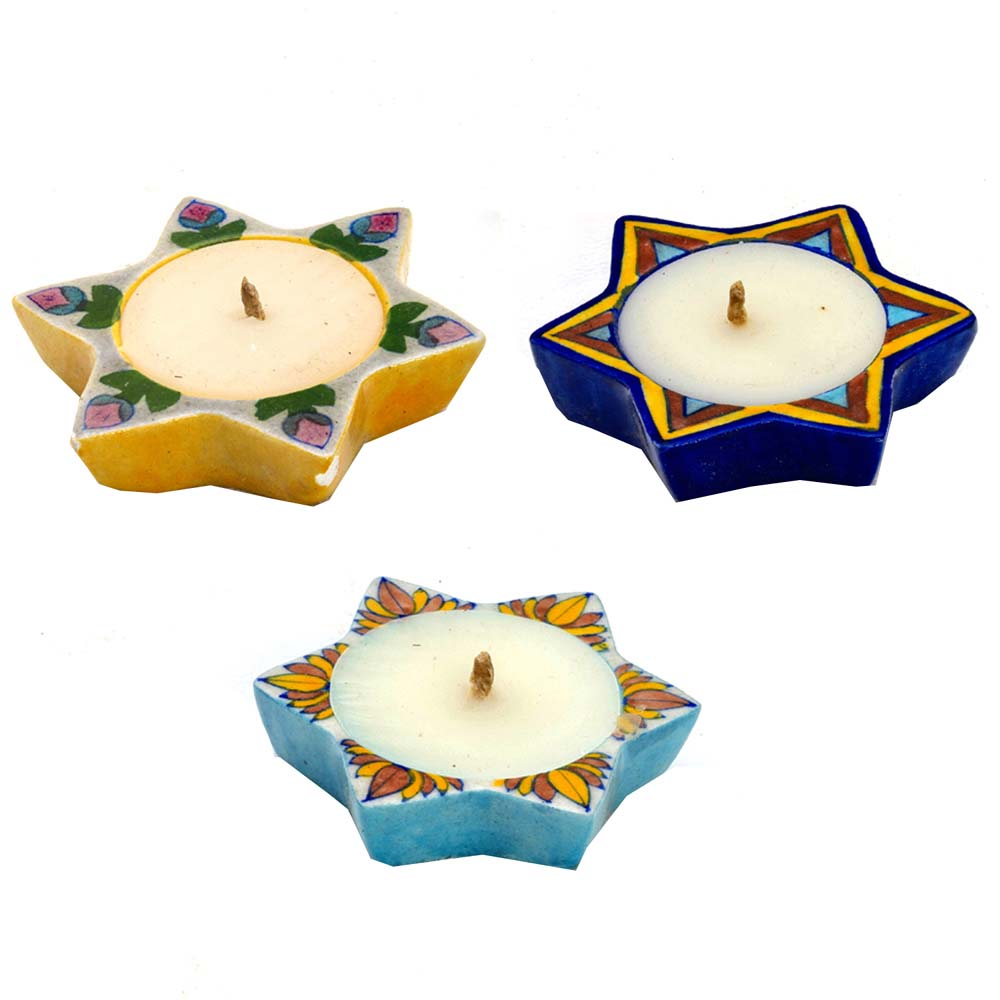 Multicolor Star Shape Wax Filled Candle Diyas- Set of 3