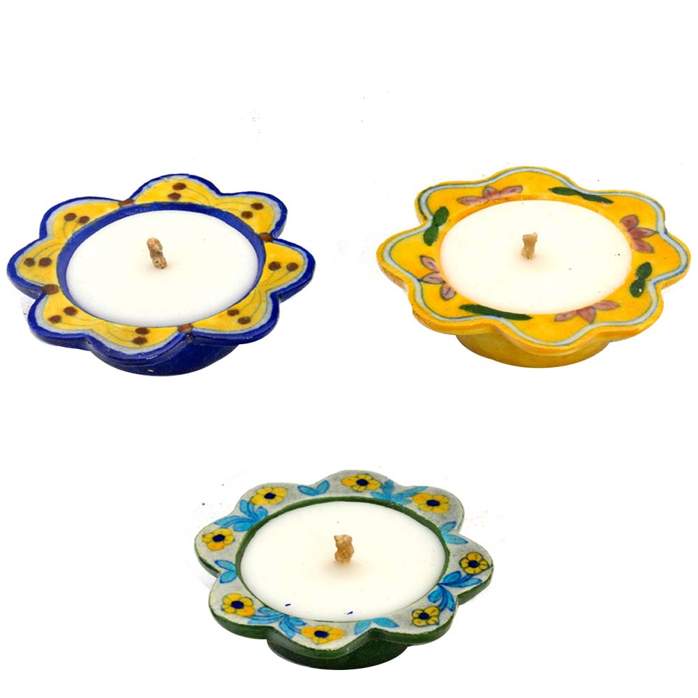 Diwali Mithai Thalis & Hampers-Beautiful Blue and Yellow Floral Shape Wax Filled Candle Diyas