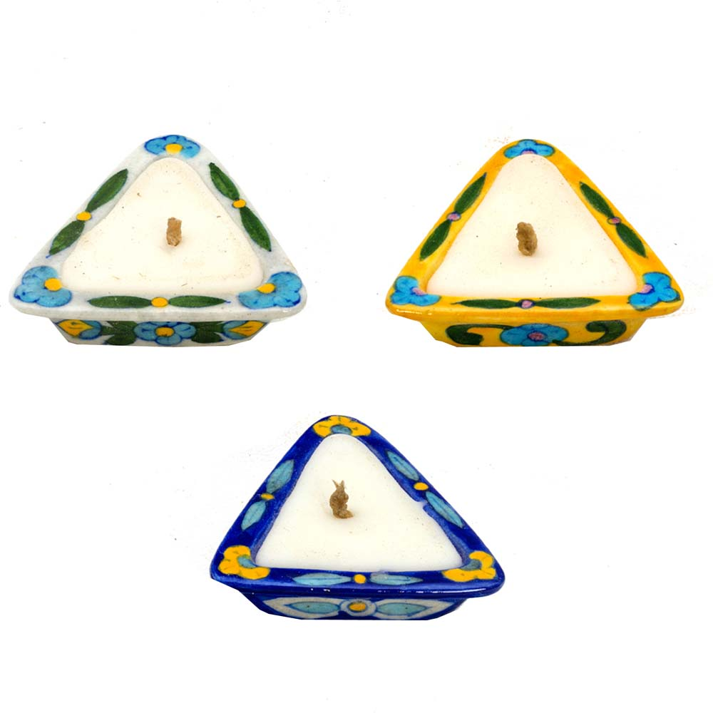 Stunning Triangular Shape Candle Diyas- Set of 3