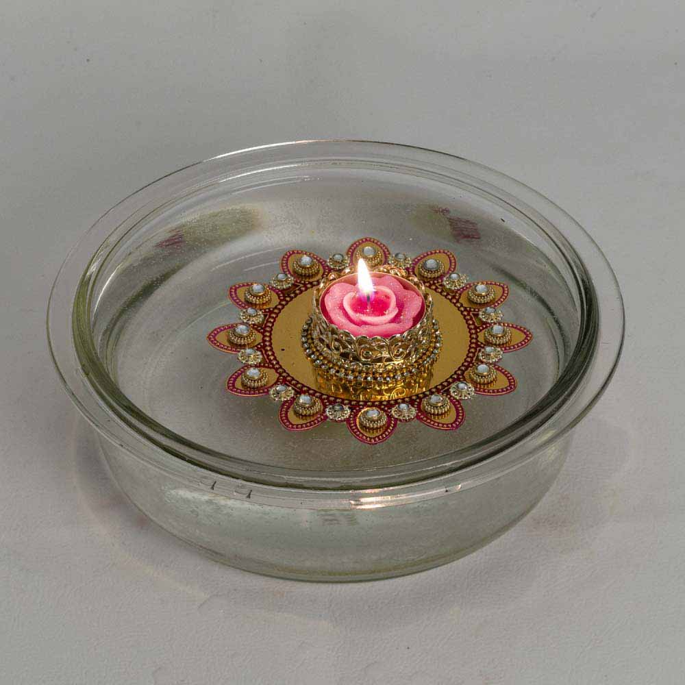 Diwali Mithai Thalis & Hampers-Stone Studded Beautiful Floating Candles