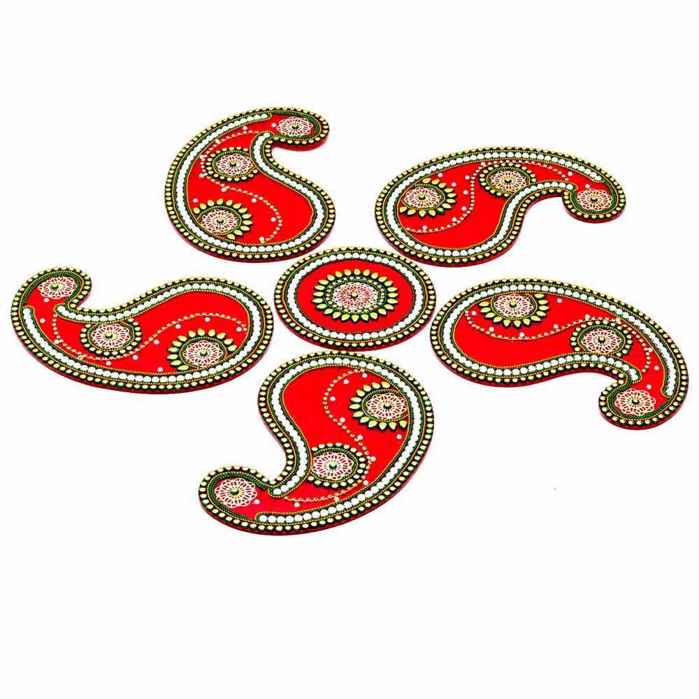 Diwali Mithai Thalis & Hampers-Stunning Paisley Design Rangoli Artpiece For Diwali