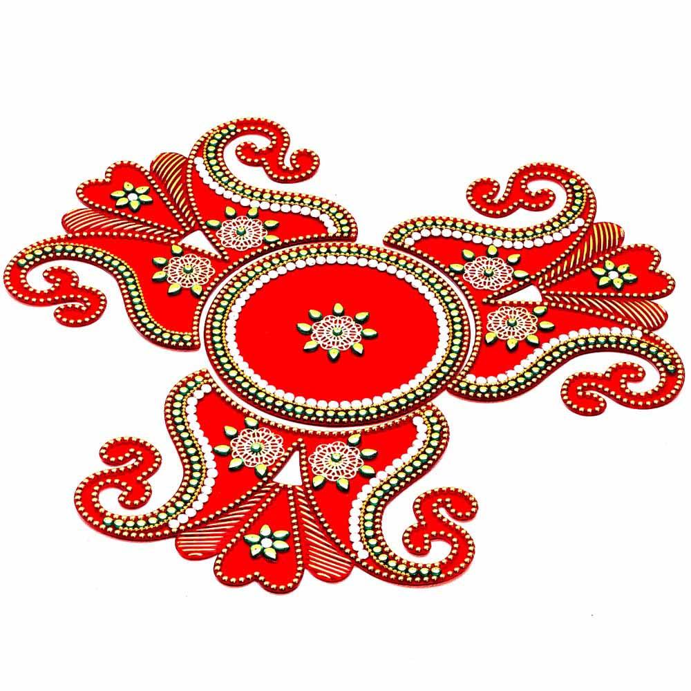Diwali Mithai Thalis & Hampers-Amazing Red and Gold Stone Studded Rangoli Art For Diwali