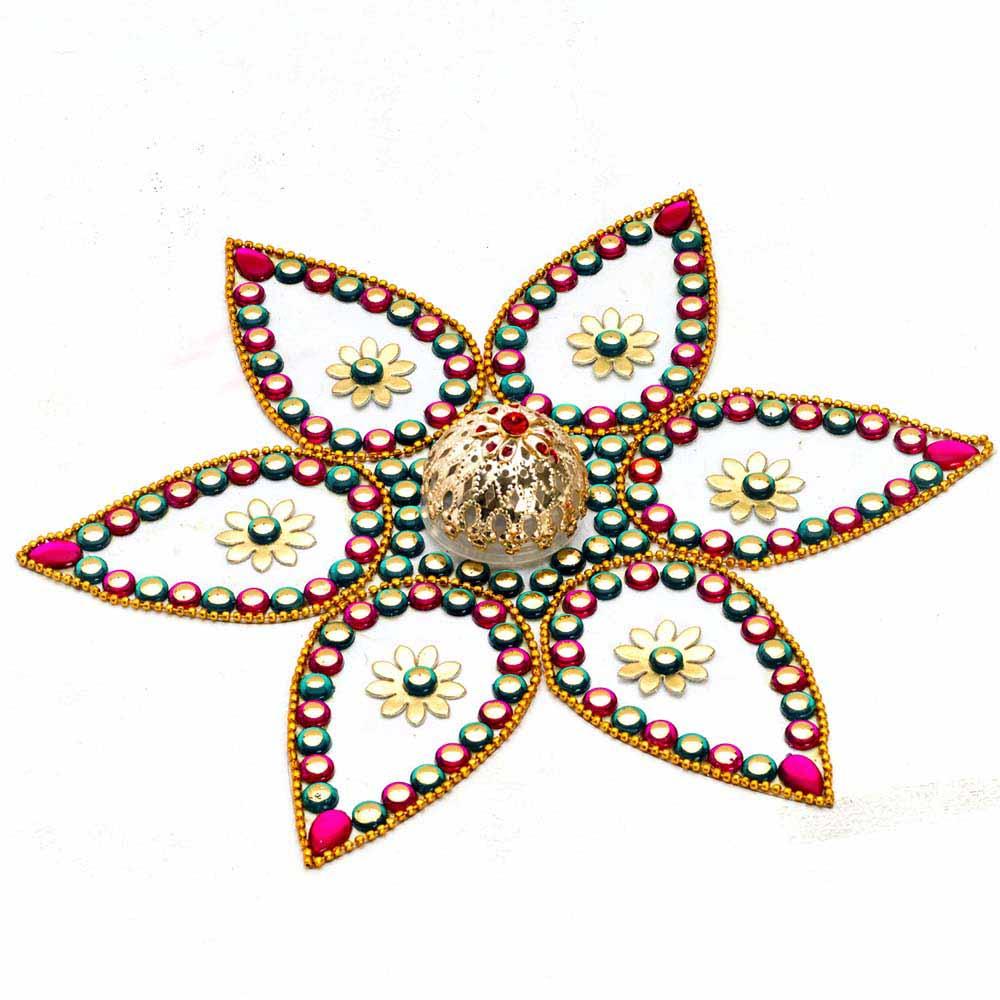 Diwali Mithai Thalis & Hampers-Beautiful Floral Shape Rangoli Art with Magic Light
