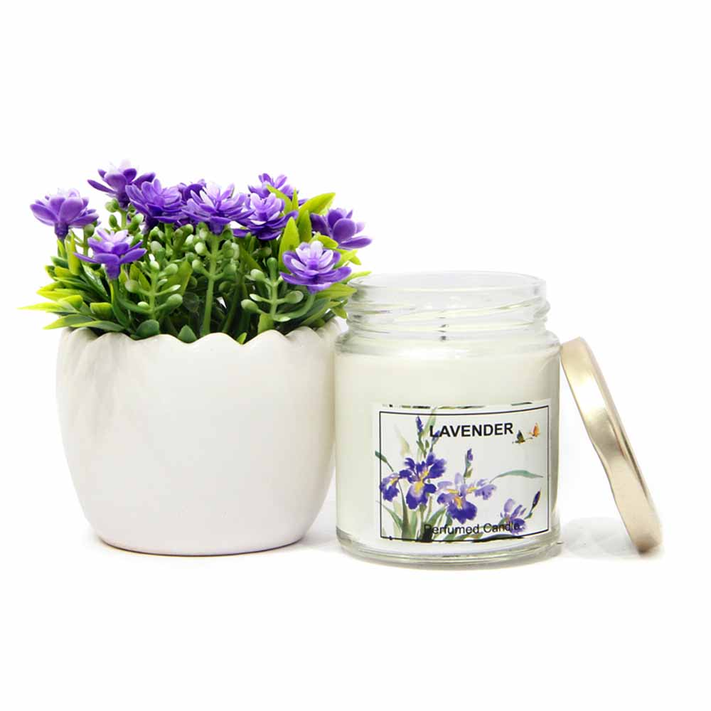 Lavender Candle with Flowerpot