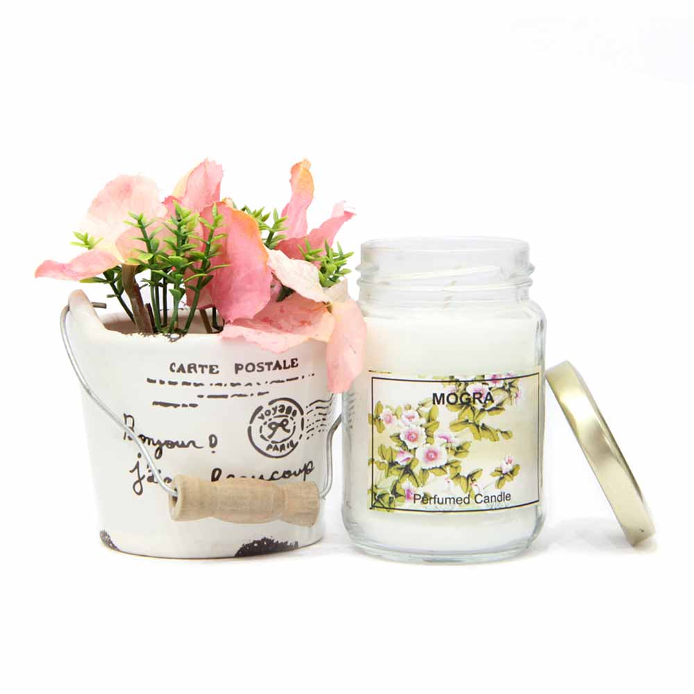 Mogra Candle with Flowery Vase