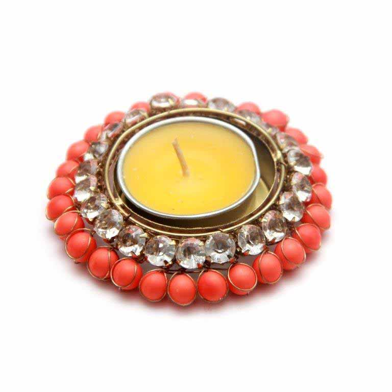 Candles & Candle Stands-Stone and Beads Designer T-light Holder