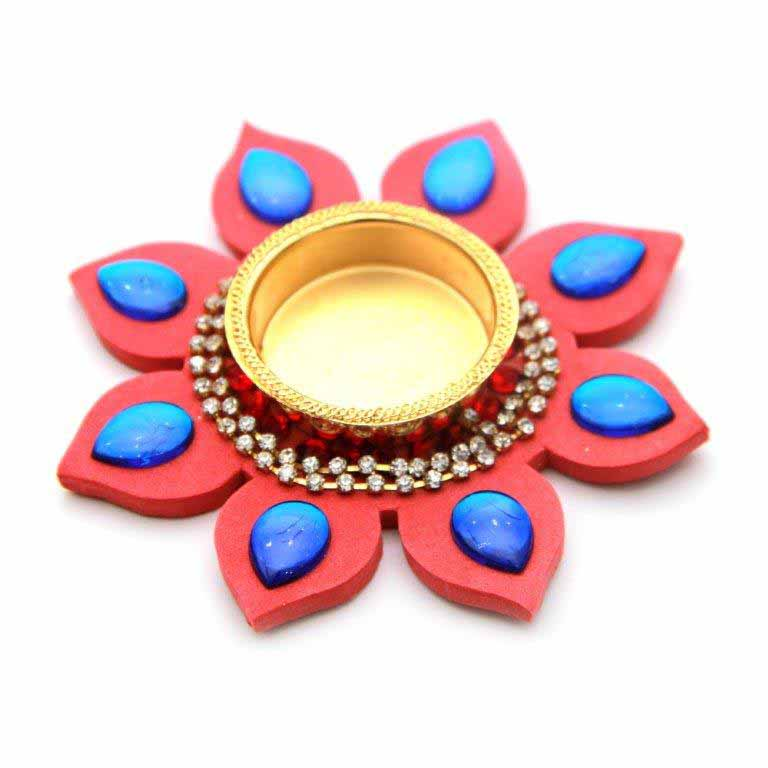 Lotus Leaf Shaped Blue Stone Diya