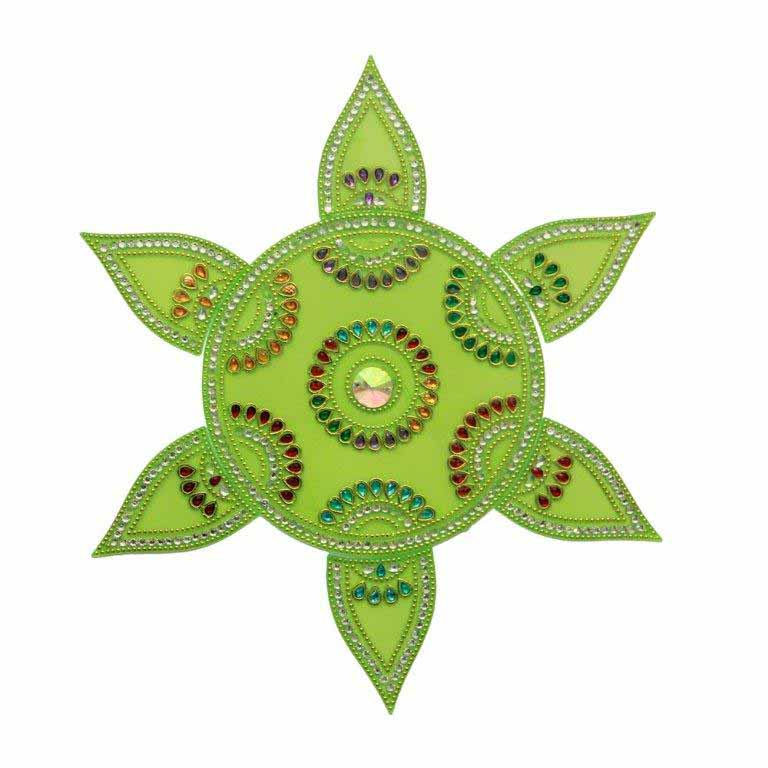 Green Rangoli with Small Designer Stones